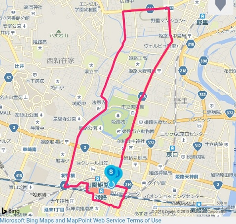 ワラーチで姫路城の周りを10km走