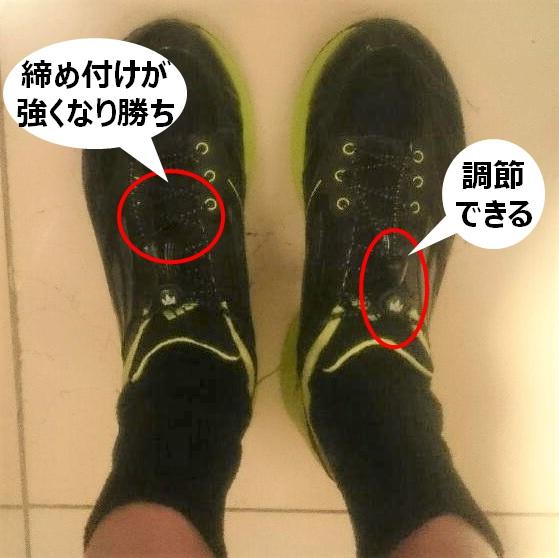 結ばない靴紐の比較