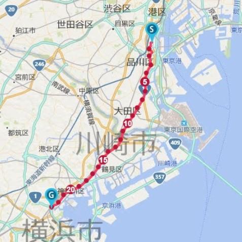 品川から横浜の23kmをランニング