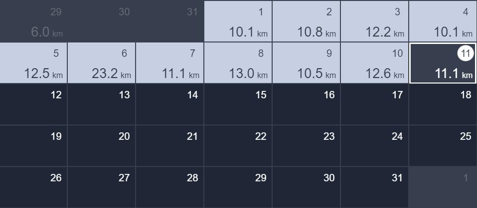 11日間連続で10kmラン&ウォーク